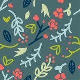 Modelo inconsútil con el garabato de floral en el fondo verde, vector, dibujo del garabato, vector lindo fotografía de archivo libre de regalías