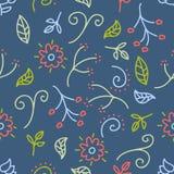 Modelo inconsútil con el garabato de la flor y de la hoja en el fondo azul para las ilustraciones, estilo lindo imagen de archivo