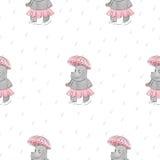 Modelo inconsútil con el hipopótamo de la historieta con el paraguas libre illustration