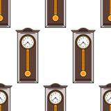 Modelo inconsútil con el interior, reloj de pie Ejemplo coloreado del plano Imagen de archivo libre de regalías