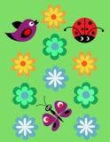 Modelo inconsútil con el Ladybug, los pájaros y las flores Fotos de archivo libres de regalías