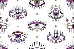 Modelo inconsútil con el modelo mágico de los ojos Impresión dibujada mano mística del icono Estilo de la historieta, muestra eso ilustración del vector