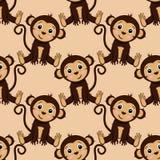 Modelo inconsútil con el mono que se sienta - ejemplo del vector, EPS stock de ilustración