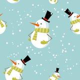 Modelo inconsútil con el muñeco de nieve lindo de Navidad de la historieta Fotografía de archivo