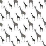 Modelo inconsútil con el ornamento de los animales de Gray And Black Silhouette Giraffe ilustración del vector