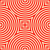 Modelo inconsútil con el ornamento geométrico simétrico Fondo abstracto blanco rojo del caleidoscopio Fotos de archivo