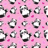 Modelo inconsútil con el oso y los corazones lindos de panda El fondo de los niños divertidos, impresión, papel de regalo imagenes de archivo