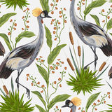 Modelo inconsútil con el pájaro de la grúa y las plantas silvestres Adorno oriental stock de ilustración