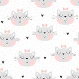 Modelo inconsútil con el pequeño gato lindo Ilustración del vector fotos de archivo libres de regalías