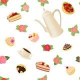 Modelo inconsútil con el pote, las tazas, las tortas y las rosas del café Imágenes de archivo libres de regalías
