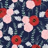 Modelo inconsútil con el ranúnculo rojo, las flores del clavel, el eucalipto espiral y el molinero polvoriento stock de ilustración