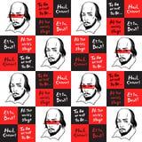 Modelo inconsútil con el retrato y las citas de Shakespeare stock de ilustración