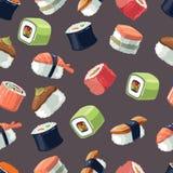 Modelo inconsútil con el sistema de la imagen del vector de comida de los rollos de sushi Foto de archivo