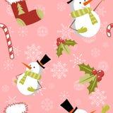Modelo inconsútil con el snowm lindo de la Navidad de la historieta Fotografía de archivo libre de regalías