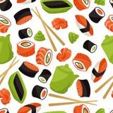 Modelo inconsútil con el sushi Foto de archivo libre de regalías