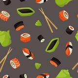 Modelo inconsútil con el sushi Foto de archivo