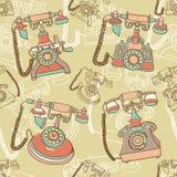Modelo inconsútil con el teléfono retro Fotografía de archivo libre de regalías