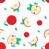 Modelo inconsútil con el vector rojo de la manzana para su diseño y sus ilustraciones fotografía de archivo