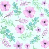Modelo inconsútil con el vintage Violet Flowers, las bayas y las hojas del azul Fotos de archivo