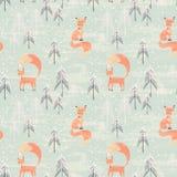Modelo inconsútil con el zorro en bosque del invierno libre illustration