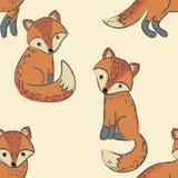 Modelo inconsútil con el zorro lindo rojo Foto de archivo libre de regalías