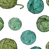 Modelo inconsútil con enredos de diversos colores con el hilado para hacer punto Ejemplo del vector en estilo del bosquejo stock de ilustración