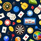 Modelo inconsútil con entretenimientos de juego y otros del casino Póker, ejemplos del vector de los dados stock de ilustración