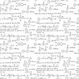 Modelo inconsútil con fórmulas químicas ilustración del vector
