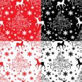 Modelo inconsútil con Feliz Navidad muy caligráfica del texto A Imagen de archivo libre de regalías