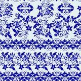 Modelo inconsútil con floral azul y las hojas stock de ilustración