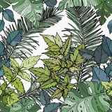 Modelo inconsútil con follaje, ramas y hojas verdes stock de ilustración