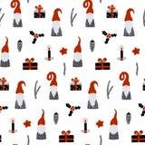 Modelo inconsútil con gnomos nórdicos y decoraciones festivas de la Navidad Impresión escandinava dibujada mano stock de ilustración