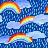 Modelo inconsútil con gotas, las nubes y el arco iris de lluvia stock de ilustración