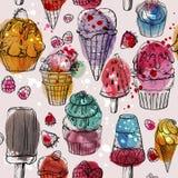 Modelo inconsútil con helado de la acuarela y magdalenas deliciosos, coloridos libre illustration