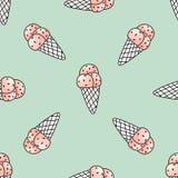 Modelo inconsútil con helado rosado en fondo de la menta Textura de moda del verano Ilustración del vector Foto de archivo