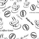 """Modelo inconsútil con imágenes de una taza de café, de granos de café y de inscripciones """"tiempo del café"""", a mano por la tinta n Imagen de archivo"""
