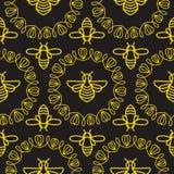 Modelo inconsútil con la abeja Imagen de archivo libre de regalías