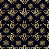 Modelo inconsútil con la abeja del oro Fotos de archivo