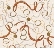 Modelo inconsútil con la cadena, la correa y las perlas del oro Ilustración del vector stock de ilustración