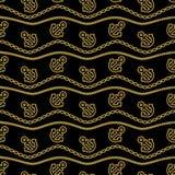 Modelo inconsútil con la cadena de anclas de las cuerdas y Waves Gold y negro Fondos en curso del tema marino Vector Imagen de archivo