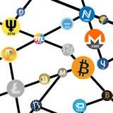 Modelo inconsútil con la cadena de los iconos del cryptocurrency Fotos de archivo libres de regalías