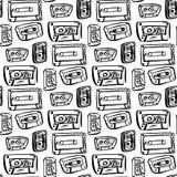 Modelo inconsútil con la cinta de audio Imagenes de archivo