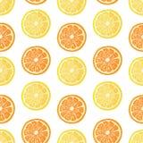 Modelo inconsútil con la decoración de la fruta Wallpaper con un modelo de la naranja y del limón de la rebanada El fondo de la f Imagenes de archivo