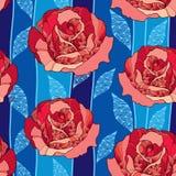 Modelo inconsútil con la flor color de rosa en hojas adornadas rojas y azules en el fondo azul marino Foto de archivo libre de regalías