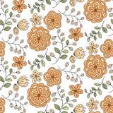 Modelo inconsútil con la flora anaranjada linda Imagen de archivo