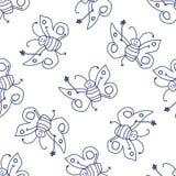 Modelo inconsútil con la hada feliz de la mariposa ilustración del vector