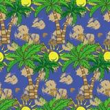 Modelo inconsútil con la impresión del verano de las palmeras, repitiendo textura del fondo Foto de archivo