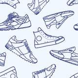 Modelo inconsútil con la línea plana movimiento del zapato de la zapatilla de deporte stock de ilustración