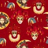 Modelo inconsútil con la máscara colorida veneciana del carnaval en fondo tradicional stock de ilustración