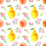 Modelo inconsútil con la manzana, la pera y la flor Imagen de la comida libre illustration